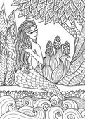 Pretty mermaid  sitting by the river arrange her hair design for adult coloring book page Vector illustration