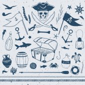 Pirate theme nautical illustrations vector set with pirate flags treasure box shark starfish lamp letter in a bottle and other