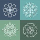 Four beautiful circular ornament on a colored background Mandala Vintage decorative elements Islam Arabic Indian ottoman motifs Set of beautiful ethnic oriental ornaments Stylized flowers