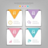 Infographics template of four steps on squares