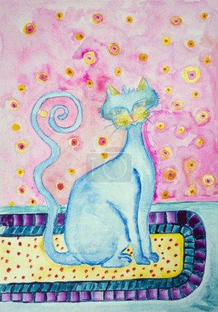 Photo pour Chat bleu avec queue bouclée assis sur un tapis. La technique de tamponnage donne un effet de mise au point douce en raison de la rugosité de surface altérée du papier . - image libre de droit