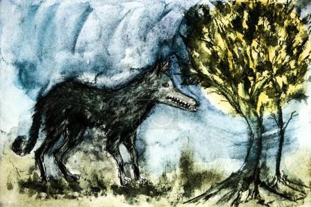 Photo pour Un loup sauvage dans la forêt. La technique de tamponnage près des bords donne un effet de mise au point doux en raison de la rugosité de surface modifiée du papier . - image libre de droit