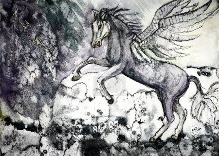 Photo pour Dessin coloré de cheval blanc de l'apocalypse. La technique de tamponnage près des bords donne un effet de mise au point doux en raison de la rugosité de surface modifiée du papier - image libre de droit