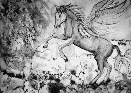 Photo pour Dessin de cheval en noir et blanc. La technique de tamponnage près des bords donne un effet de mise au point doux en raison de la rugosité de surface modifiée du papier . - image libre de droit
