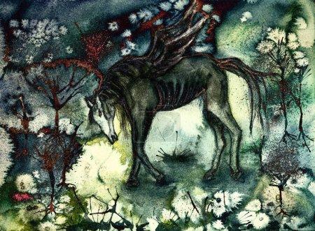 Photo pour Cheval noir épuisé dans un paysage désolé. La technique de tamponnage près des bords donne un effet de mise au point doux en raison de la rugosité de surface modifiée du papier - image libre de droit