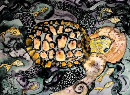 Photo pour Tortue nageant au-dessus des rochers. La technique de tamponnage près des bords donne un effet de mise au point doux en raison de la rugosité de surface modifiée du papier . - image libre de droit