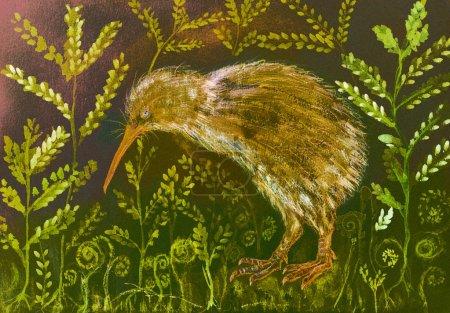 Photo pour Oiseau kiwi de couleur or se cachant dans la varangue. La technique de tamponnage près des bords donne un effet de mise au point doux en raison de la rugosité de surface modifiée du papier . - image libre de droit