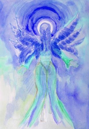 Photo pour Ange femelle bleue regardant vers la lumière. La technique de tamponnage donne un effet de mise au point douce en raison de la rugosité de surface altérée du papier . - image libre de droit