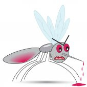 An evil sated mosquito stings with blood dripping