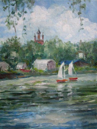 landscape temples with river, Yaroslavl, Russia, oil painting