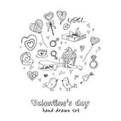 Valentine doodle set with hearts flowers gifts candus and birds