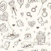 Valentine doodle seamless pattern with hearts flowers gifts candus and birds