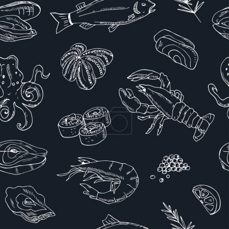 Illustration for Vector seamless pattern with hand drawn seafood illustration - fresh fish, lobster, crab, oyster, mussel, squid and spice sketch. Vintage menu template. - Royalty Free Image