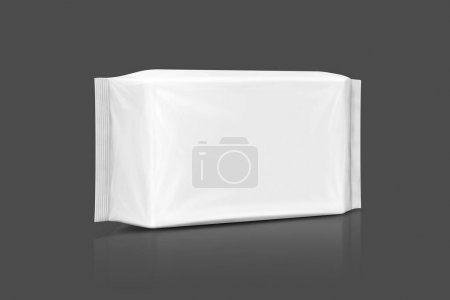 blank packaging paper wet wipes pouch isolated on gray background