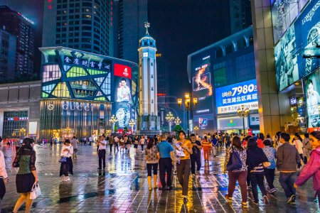 Chongqing, downtown business center at night, China, Asia