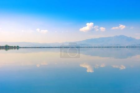 calmness lake in the morning with mountain and reflection in the water