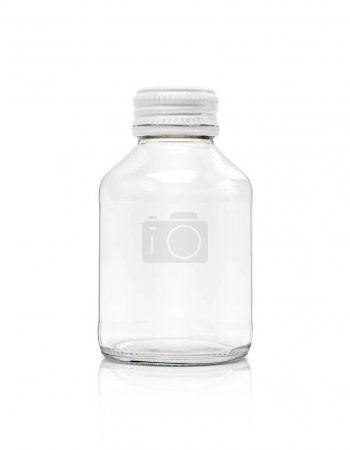 Photo for Blank packaging clear glass bottle with white cap isolated on white background with clipping path - Royalty Free Image