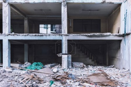 Photo for Abandoned broken horror building or ruined apartment Interior structure - Royalty Free Image