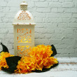 White metal lantern with Candle light Decoration o...