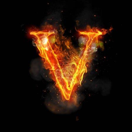 Letra de fuego V de luz de llama ardiente