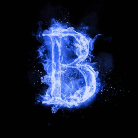 Letra de fuego B de luz de llama ardiente