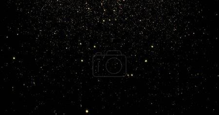 Foto de Resumen partículas de oro y brillantes estrellas o fondo de efecto de luz brillante. Destello brillo de luz o resplandor efecto overlay para diseño de producto premium de lujo o telón de fondo de vacaciones Navidad - Imagen libre de derechos