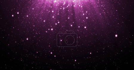 Foto de Fondo de las partículas de brillo púrpura abstracta con brillantes estrellas cayendo y la luz flare o efecto de superposición encima de lujo premium producto diseño plantilla telón de fondo de resplandor. Mágico resplandor de luz - Imagen libre de derechos