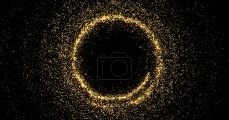 Foto de Círculo resplandeciente dorado con partículas brillantes, diseño de fondo navideño. Abstract Golden glittery circle frame of magic glittering trails and glowing sparkle twirls. - Imagen libre de derechos