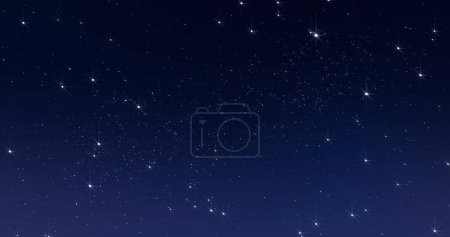 Photo for Sky stars, starry night dark blue background with starlight sparkles twinkling and blinking in universe space. Starry night sky, milky way stars twinkle shine, seamless loop - Royalty Free Image