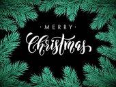 Veselé vánoční jedle borovice větev rámeček karta, plakát