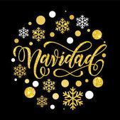 Španělská vánoční Navidad zlatá glitter text
