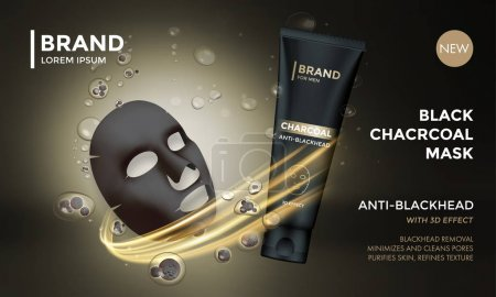 Cosmetic package advertising vector template skin care charcoal mask