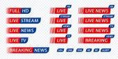 Live stream TV news tag icon Video symbol live broadcasting