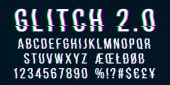 Glitch distorted font letter set with broken pixel effect