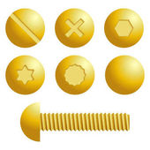Set of metal screws bolts icons
