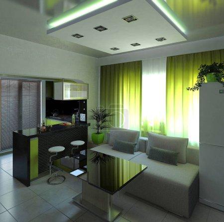Open concept interior design, 3d rendering