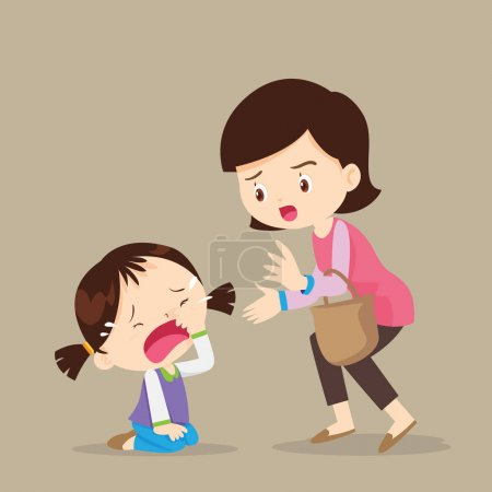 crying girl and mother