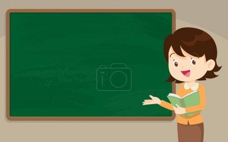 Illustration pour Jeune professeur devant un tableau avec espace de copie pour votre texte . - image libre de droit