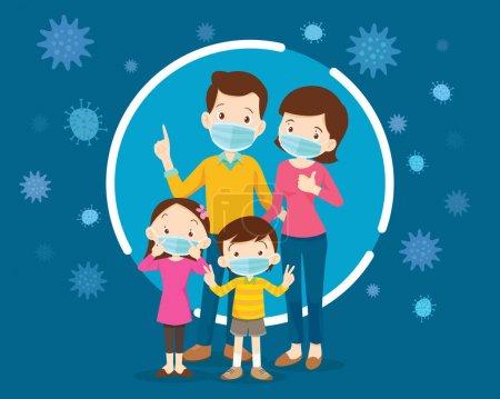 Illustration pour Famille portant un masque médical de protection pour prévenir le virus.Papa Maman Fille Fils portant un masque chirurgical . - image libre de droit