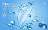 Eye contacts ads template aqua plus contact lenses with water and air bubbles Product ads and package design in 3d illustration