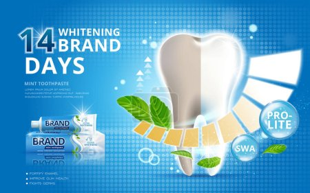 Illustration for Whitening toothpaste ads, before and after effect on your teeth isolated on blue background in 3d illustration - Royalty Free Image
