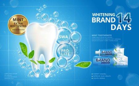 Illustration pour Dentifrice blanchissant, dents blanches étincelantes avec feuilles de menthe et bulles isolées sur fond bleu en illustration 3d - image libre de droit