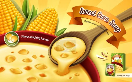 Illustration pour Annonce de soupe de maïs sucré, avec une tasse de soupe de près et des éléments de grain de maïs, illustration 3D - image libre de droit