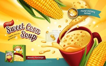 Illustration pour Publicité soupe de maïs sucré, avec effet spécial et éléments de maïs, illustration 3D - image libre de droit