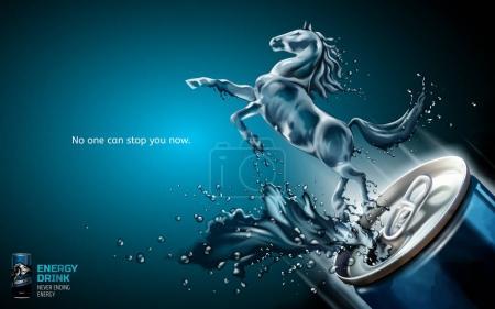 Illustration pour Élégantes annonces de boissons énergisantes, cheval liquide sauté de la boîte avec éclaboussures de boissons en illustration 3D, fond bleu - image libre de droit