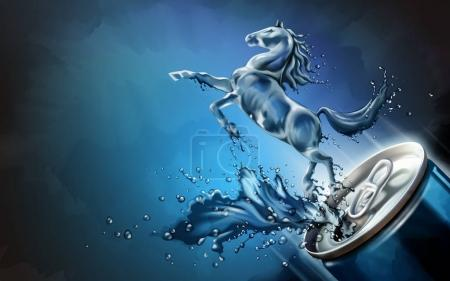 Illustration pour Cheval liquide sauté de la boîte avec des boissons éclaboussantes en illustration 3D, élément de conception de fond bleu - image libre de droit