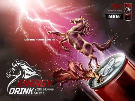 Illustration pour Publicité de boissons énergisantes, cheval liquide sauté de la boîte avec éclaboussures de boissons en illustration 3D, fond de foudre - image libre de droit