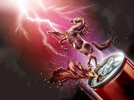 Illustration pour Cheval liquide sauté de la boîte avec des boissons éclaboussantes en illustration 3D, fond rouge éclair - image libre de droit