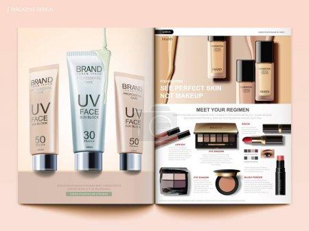 Illustration pour Modèle de magazine cosmétique, brochure sur les tendances du maquillage avec fond de teint, écrans solaires et ombres à paupières en illustration 3D - image libre de droit