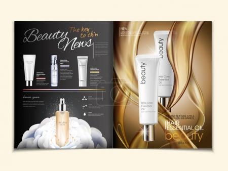 Illustration pour Publicité magazine cosmétique, huile capillaire et produits de soins de la peau à texture grasse en illustration 3D - image libre de droit